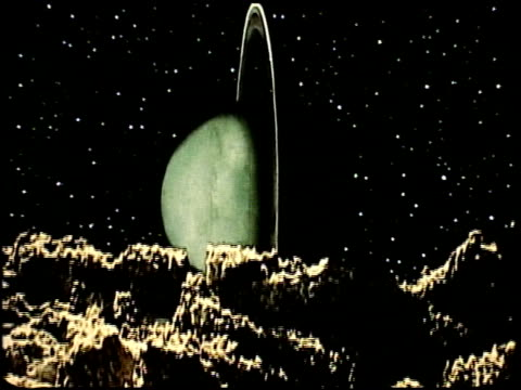 Special effects footage created by Tom Smith who later headed up the Special Effects team at Industrial Light Magic / views of Uranus and its rings...