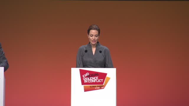 Special Envoy Angelina Jolie gives her thoughts on the close of the summit at Closing plenary at ExCel on June 13 2014 in London England
