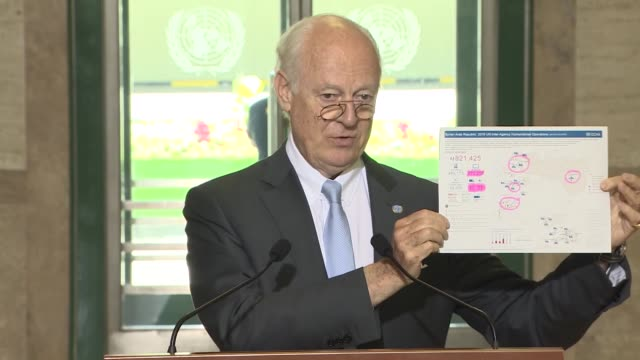 Special Envoy for Syria Staffan de Mistura holds a press conference following the meeting of the International Syria Support Group's Humanitarian...