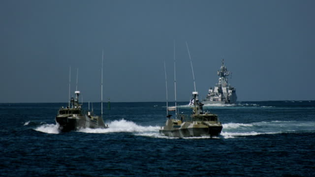 special forces boats at military exercises of the fleet - military ship stock videos & royalty-free footage