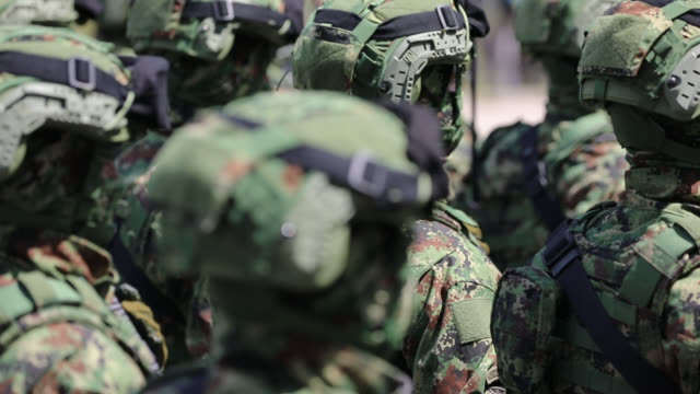 special forces marching on military parade - camouflage stock videos & royalty-free footage