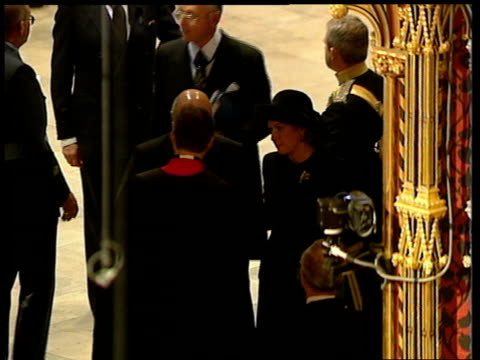 funeral of princess diana 0900 1000 0956 westminster abbey mohammed al fayed with wife fin into westminster abbey pavarotti arriving and through west... - luciano pavarotti stock videos & royalty-free footage