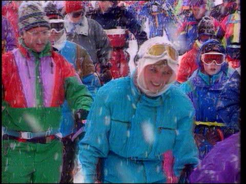 funeral of princess diana: 09.00 - 10.00; princess of wales at ski resort - ruler stock videos & royalty-free footage