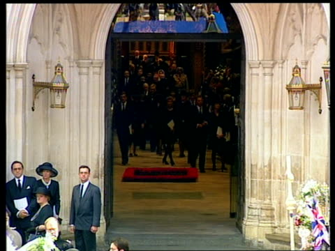 funeral of princess diana 1200 1300 1213 prince charles prince william and prince harry away from outside abbey in car as charles seen wiping tear... - begräbnis stock-videos und b-roll-filmmaterial