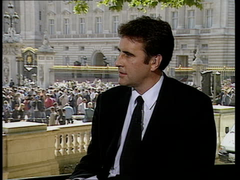funeral of princess diana: 13.00 - 14.00; studio - mcdonald live england: london: buckingham palace: penny junor intvwd - disappointed with spencer... - dermot murnaghan stock videos & royalty-free footage