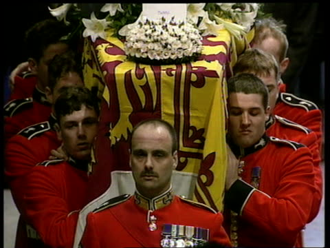 Funeral of Princess Diana 1500 1600 Funeral service including coffin placed on catafalque including the Very Rev Wesley Carr and the first Hymn I vow...