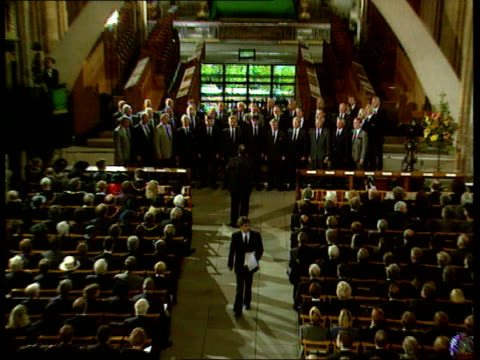 funeral of princess diana: 19.00 - 20.03; htv wales: cardiff: tgv service in llandaff cathedral zoom in as choir singing ext: people outside... - religious service stock videos & royalty-free footage