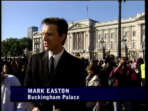 funeral of princess diana reporter in studio mark easton at buckingham palace charlie stayt at hyde park sarah smith at westminster abbey rob butler... - begräbnis stock-videos und b-roll-filmmaterial