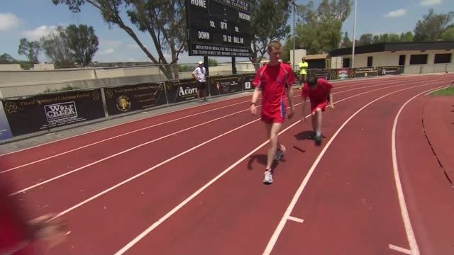 Special Olympics World Games in Los Angeles Mitchell Camp interview SOT Mitchell Camp with other GB athletes on track practising relay race Mitchell...