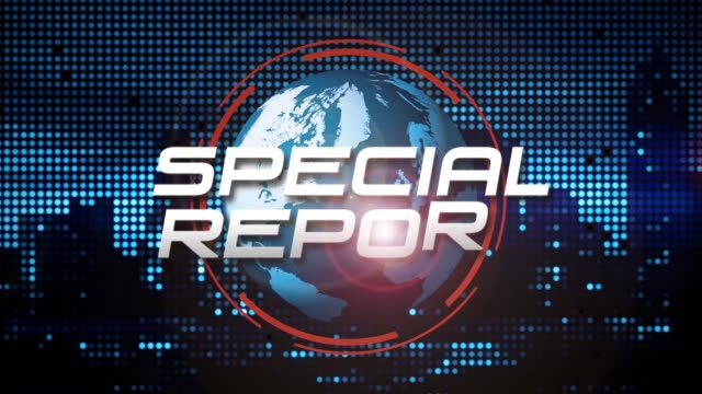 """special report"" 3d graphic animation (blue) - digital animation stock videos & royalty-free footage"