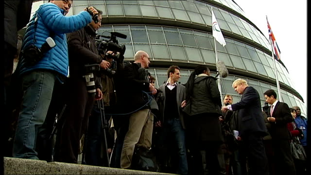 special report on 2012 london mayoral election 2822012 general views johnson at event to launch olympic rings sculpture outside city hall various of... - tower bridge stock videos & royalty-free footage