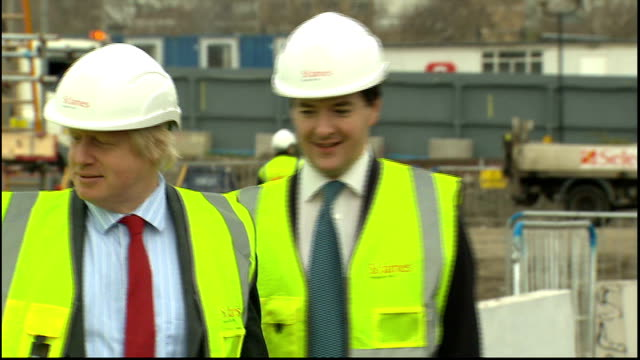 special report on 2012 london mayoral election lib ext various of george osborne mp and johnson touring construction site in battersea johnson saying... - バタシー点の映像素材/bロール