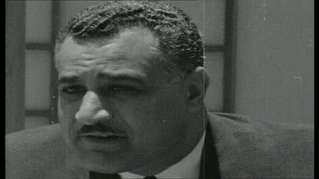 robin day questions president nasser nasser interview sot in 1950 when the security council said that stopping israeli shipping from using the suez... - telegram stock videos and b-roll footage