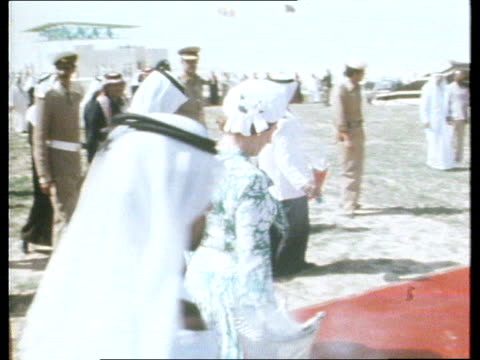 royal tour of the gulf persian gulf gv flotilla of small boats flying union jacks along beside hmy britannia gv dhows flying union jacks and looking... - ladle stock videos & royalty-free footage