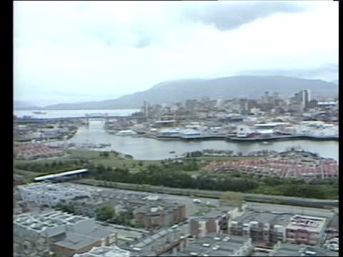 vidéos et rushes de the prince and princess of wales across the pacific:; canada: vancouver: air view over expo 86 building: prince charles, prince of wales & diana,... - patriotism