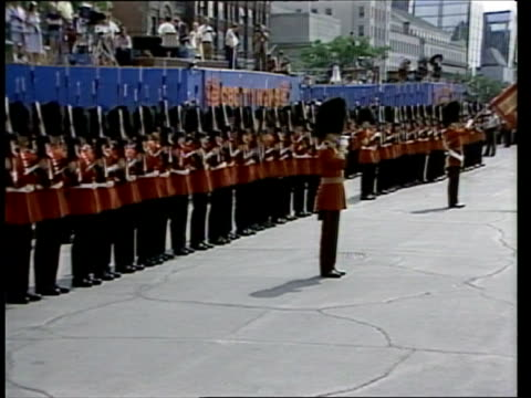 the prince and princess of wales in canada: week 2:; 20.6.83 canada: ottawa: seq parliament building; guards marching; crowd waiting; guards on... - ottawa stock videos & royalty-free footage