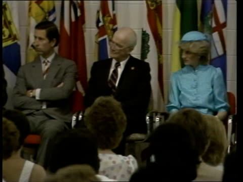 the prince and princess of wales in canada: week 2:; 22.6.83 canada: ottawa: terry fox centre: int seq prince charles, prince of wales and diana,... - ottawa stock videos & royalty-free footage