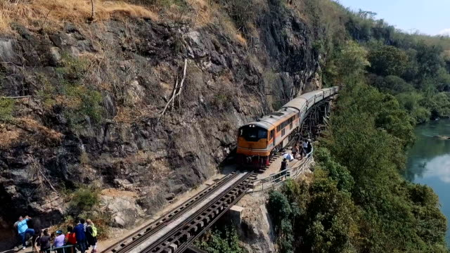 special trains the death railway & river kwai in kanchanaburi, thailand - steam train stock videos & royalty-free footage
