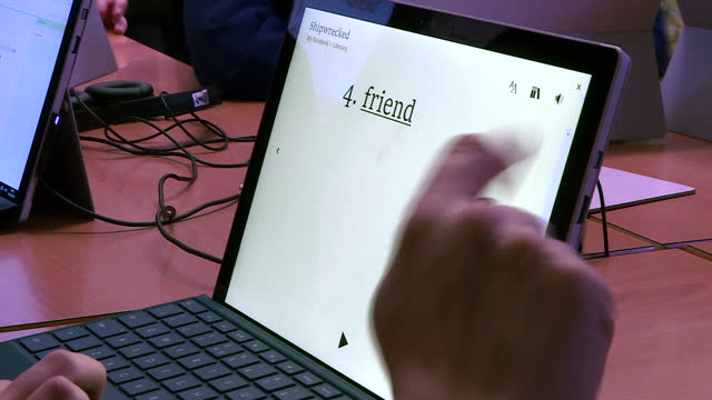 specialist school which teaches children with dyslexia and learning difficulties is trialling a new software to help them learn. an immersive reader... - computer equipment stock videos & royalty-free footage