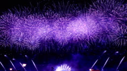 Spectacular blue firework display