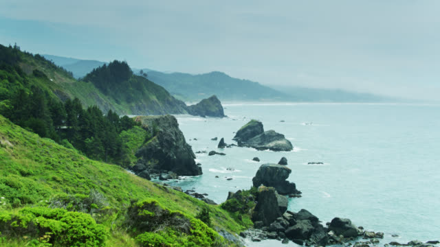 spectacular coastal scenery at sisters rocks state park in oregon - drone shot - oregon us state stock videos & royalty-free footage