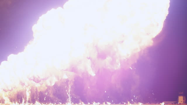 Spectacular fireworks blast from multiple ground mortars firing simultaneously