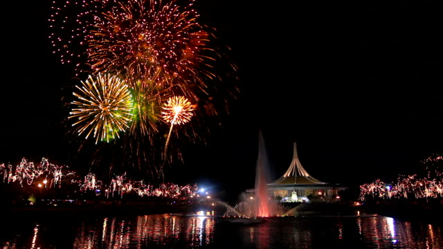 Spectacular Fireworks in Big City Park with Cheering Crowd Audio