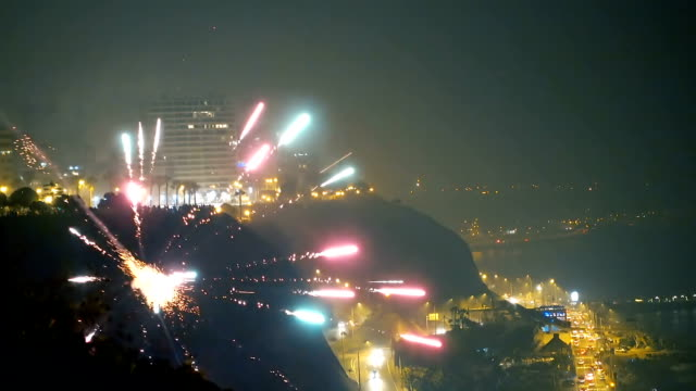 spectacular fireworks in lima peru - lima peru stock videos and b-roll footage