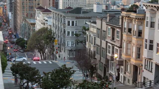 spectacular san francisco sunrise - mason street with a view towards downtown and union square - nob hill stock videos & royalty-free footage
