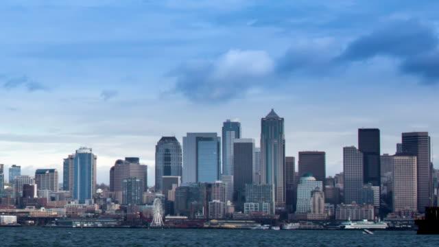 spettacolare skyline di seattle - pacifico occidentale video stock e b–roll