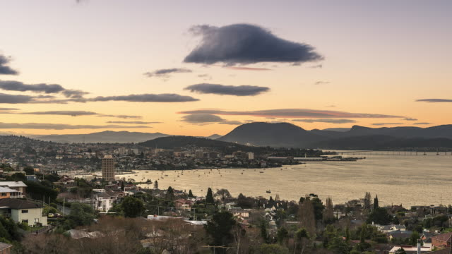 spectacular skyline views of hobart city - bay of water stock-videos und b-roll-filmmaterial