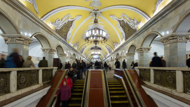 Spectacular vaulted ceiling and chandeliers in Moscow's Komsomolskaya metro station, Moscow, Russia
