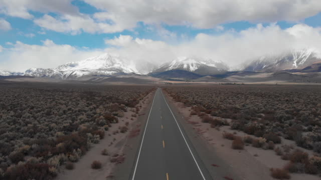 AERIAL: Spectacular view of the majestic Rockies and rugged wilderness in Nevada