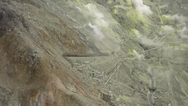 Spectacular Volcanic Landscape With With Sulfurous Fumes Seen From Hakone Ropeway, Hakone, Japan