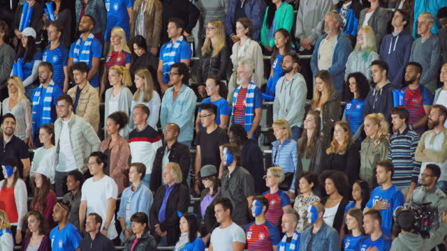 spectators at the stadium standing up for the national anthem - face paint stock videos & royalty-free footage