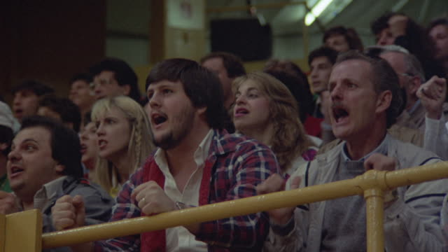Spectators cheer and clap at a sporting event.