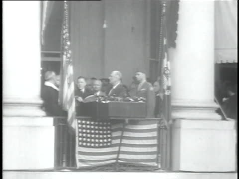 spectators cheer as franklin d. roosevelt takes the oath of office. - president stock videos & royalty-free footage