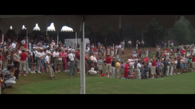 ms pan spectators cheering at golf tournament - contest stock videos & royalty-free footage