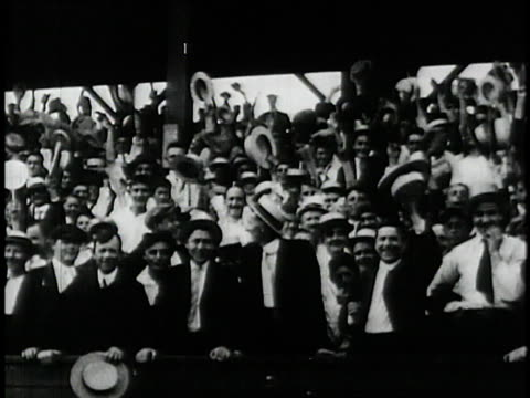 spectators cheering in stands during 1927 world series / united states - 1927 stock videos and b-roll footage