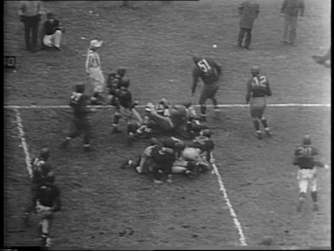 spectators cheering in the stands at wrigley field in chicago illinois / chicago back sid luckman carries the ball to the 3 yard line / chicago... - 1943 stock videos & royalty-free footage