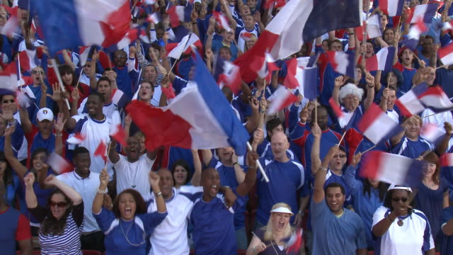 WS Spectators in bleachers cheering and waving French flags, London, UK