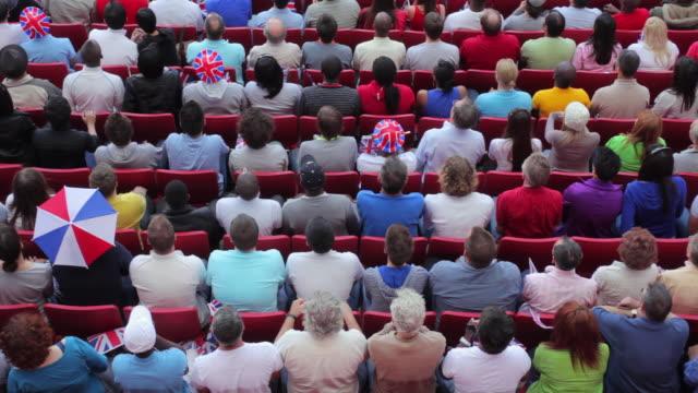 ws ha spectators in bleachers cheering, london, uk - bleachers stock videos and b-roll footage