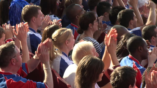 ms pan spectators in bleachers cheering, london, uk - french culture stock videos & royalty-free footage