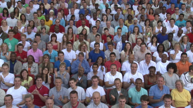 ws spectators in bleachers clapping and cheering, london, uk - bleachers stock videos and b-roll footage