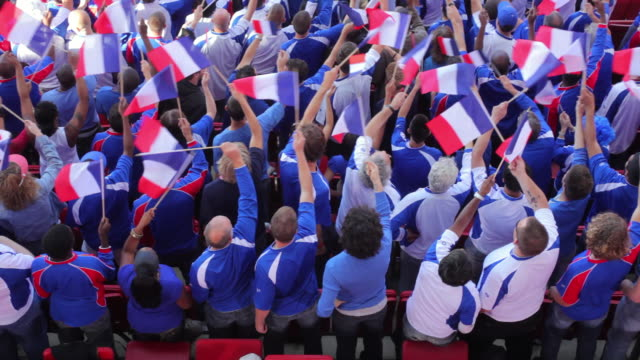 ws ha spectators in bleachers waving french flags, london, uk - french flag stock videos & royalty-free footage