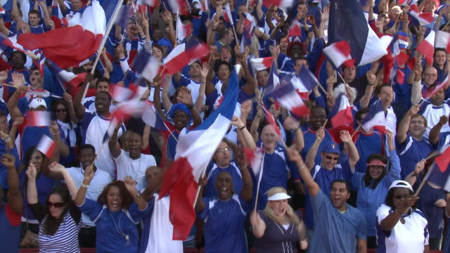 WS Spectators in bleachers waving French flags, London, UK