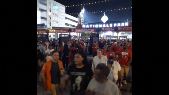 spectators leave the national parks stadium in the us capital, as a baseball game is suspended after gunshots were heard outside - nationals park stock videos & royalty-free footage