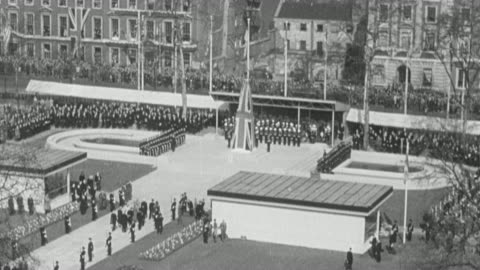 1949 montage spectators on the streets, building roof tops, and facility courtyard observing and attending outdoor ceremony / united kingdom - 1949 stock videos & royalty-free footage