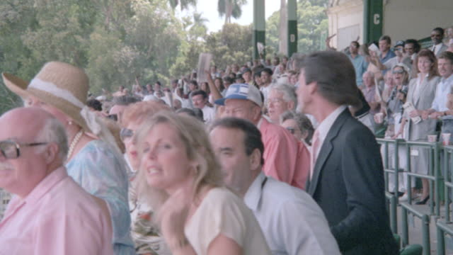 spectators stand and cheer as they watch a horse race. - binoculars stock videos & royalty-free footage