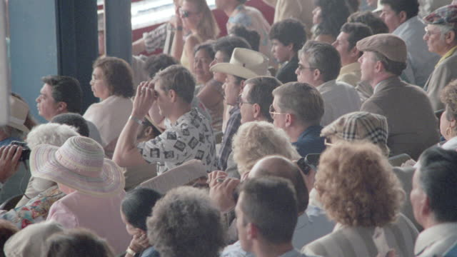 spectators stand as they watch a horse race. - binoculars stock videos & royalty-free footage